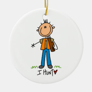 Stick Figure Hunter Round Ceramic Ornament