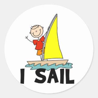 Stick Figure I Sail T-shirts and gifts Classic Round Sticker