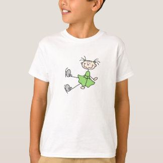 Stick Figure Ice Skater Green Shirt