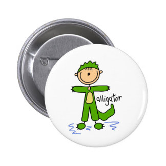 Stick Figure In Alligator Suit Button