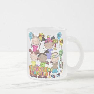 Stick Figure Kids 100 Days Smarter 10 Oz Frosted Glass Coffee Mug