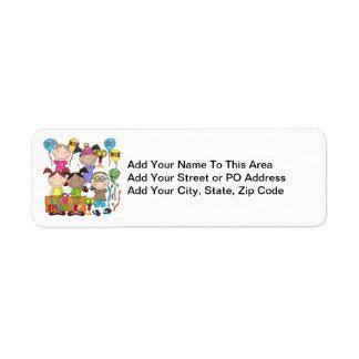 Stick Figure Kids 100 Days Smarter Return Address Label