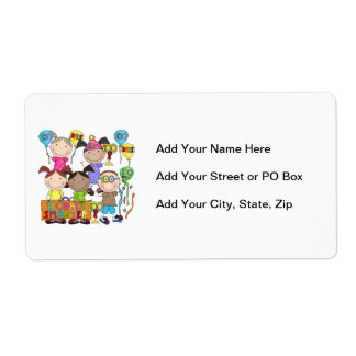 Stick Figure Kids 100 Days Smarter Shipping Label
