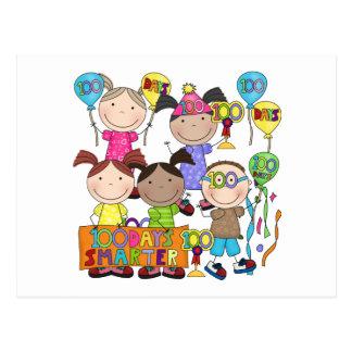 Stick Figure Kids 100 Days Smarter Postcard