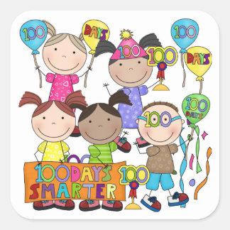 Stick Figure Kids 100 Days Smarter Square Sticker