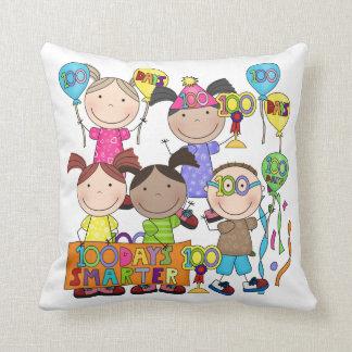 Stick Figure Kids 100 Days Smarter Throw Pillows