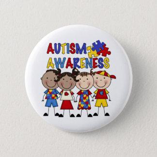 Stick Figure Kids Autism Awareness 2 Inch Round Button