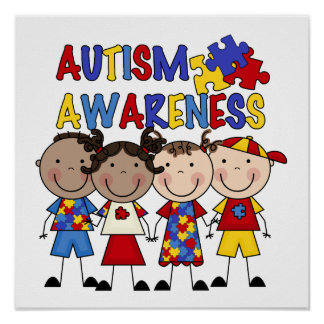 Stick Figure Kids Autism Awareness Poster