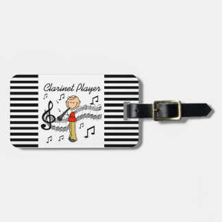 Stick Figure Male Clarinet Player Tshirts and Gift Luggage Tag
