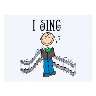 Stick Figure Male I Sing T-shirts and Gifts Postcard