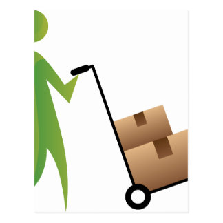 Stick Figure Man Moving Boxes Handtruck Postcard