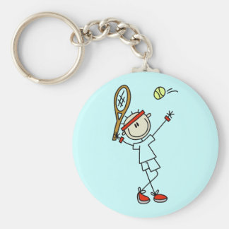 Stick Figure Mens Tennis Keychain