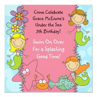 Stick Figure Mermaid Custom Birthday Invitation