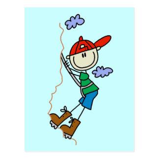 Stick Figure Mountain Climbing Tshirts and Gifts Postcard