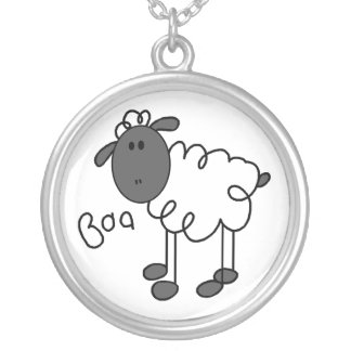 Stick Figure Sheep Necklace