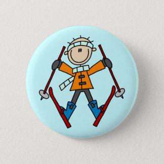 Stick Figure Skier T-shirts and Gifts 2 Inch Round Button