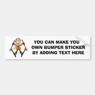 Stick Figure Skier T-shirts and Gifts Bumper Sticker