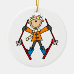 Stick Figure Skier T-shirts and Gifts Christmas Tree Ornament