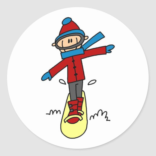 Stick Figure Snowboarding Classic Round Sticker