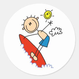 Stick Figure Surfer Boy Stickers