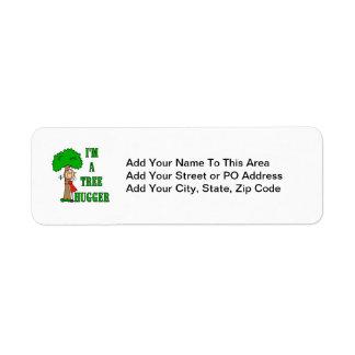Stick Figure Tree Hugger T-shirts and Gifts Return Address Label