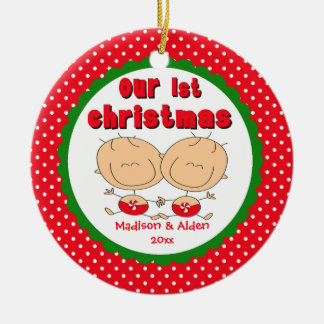 Stick Figure Twins Baby's First Christmas Ornament