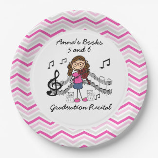 Stick Figure Violin Player Chevron Paper Plates
