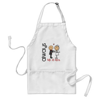 Stick Figure Wedding Couple Mr. & Mrs. Always Standard Apron