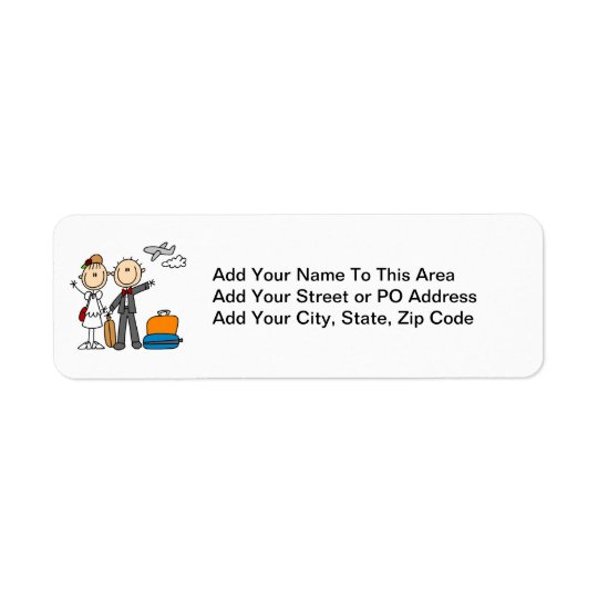 Stick Figure Wedding Honeymoon T-shirts and Gifts Return Address Label