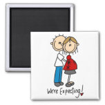 Stick Figure We're Expecting Refrigerator Magnet