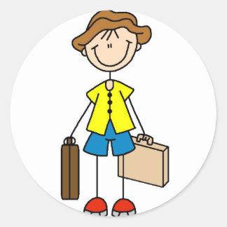 Stick Figure With Luggage Sticker