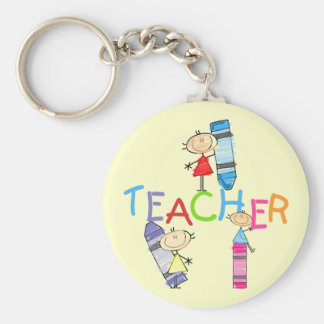 Stick Figures Crayons Teacher Tshirts and Gifts Keychain