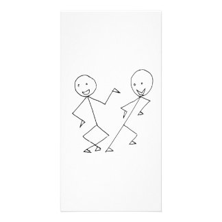Stick Figures Dancing Custom Photo Card