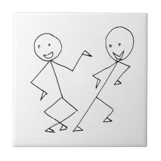 Stick Figures Dancing Ceramic Tile