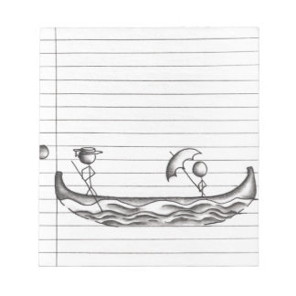 Stick Figures on a Gondola Boat Notepad