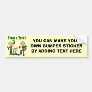 Stick Figures Plant a Tree Tshirts and Gifts Bumper Sticker