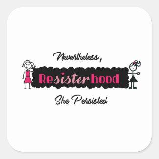 Stick Figures Resisterhood Womens Rights Square Sticker