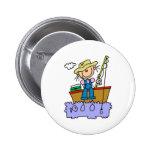 Stick Girl Fishing Pinback Button