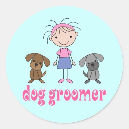 Stick Girl Pet Occupation Dog Groomer Round Sticker