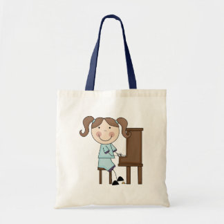 Stick Girl Playing Piano Budget Tote Bag