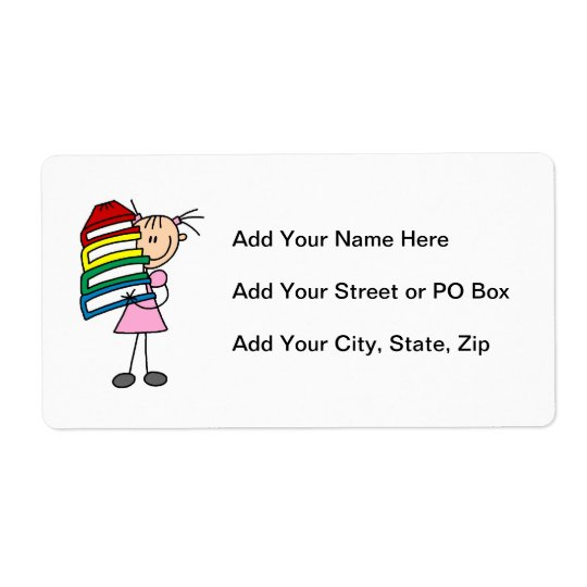 Stick Girl With Books Shipping Label