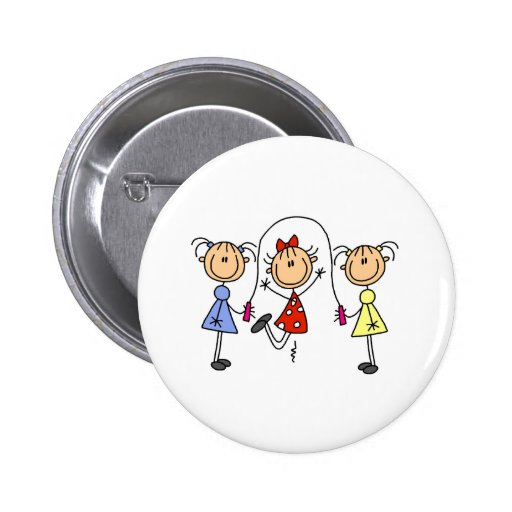 Stick Girls Jumping Rope 2 Inch Round Button