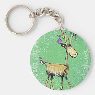 Stick Holiday Deer Keychain