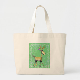 Stick Holiday Deer Large Tote Bag
