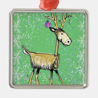 Stick Holiday Deer Metal Ornament