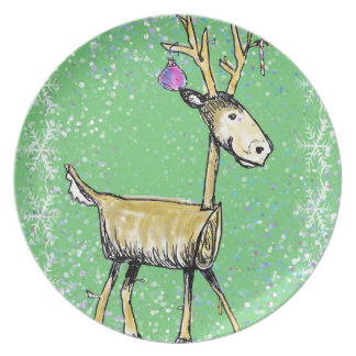 Stick Holiday Deer Plate
