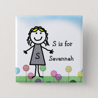 Stick Kids Girl's Name Badge Button