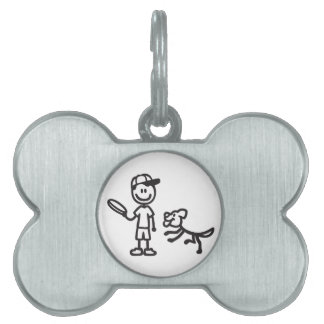 Stick Man and Dog playing Frisbee Pet Name Tag