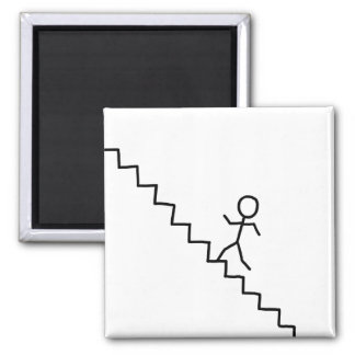 Stick man going up the stairs magnet
