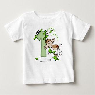 Stick Monkey Swing 1st Birthday Baby T-Shirt